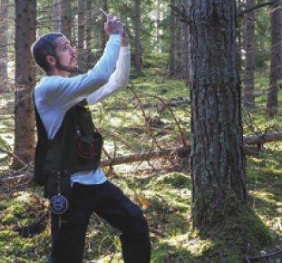 Johan Ekenstedt mäter trähöjd med sin egen app i telefonen.