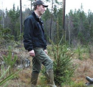 Skogstjänsteman samtal med skogsägare på ett hygge.