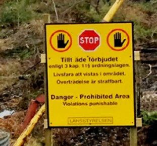 Varningsskylt efter skogsbrand
