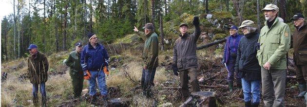 Skogsklubbens medlemmar ute på exkursion