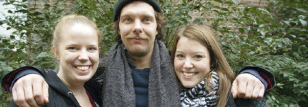 Framtidsguiderna Sara Karlsson, Wilhelm Magnusson och Stina Fridholm